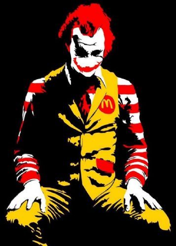 BANKSY - McDONNALDS JOKER canvas print - self adhesive poster - photo print